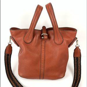 ☮️ Tod's bucket bag orange red pebbled leather